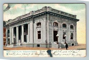 New Castle PA, Government Building, Vintage Pennsylvania c1907 Postcard