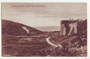 P1172 old postcard unused view bay from castle hill manorbier wales england