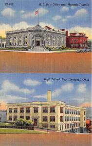 East Liverpool Ohio~US Post Office & Masonic Temple~High School~2 Views~1940s Pc