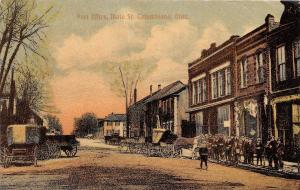 E14/ Columbiana Ohio Postcard 1908 Post Office Main Street Stores
