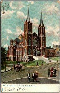 1906 Macon, Georgia Postcard St. Joseph's Catholic Church Street View TUCK'S