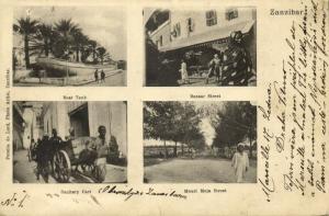 tanzania, ZANZIBAR, Boat Tank, Mnazi Moja and Bazaar Street (1904) Postcard