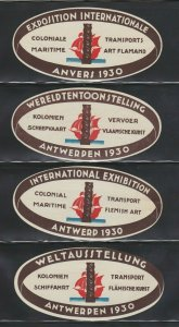 1930 Antwerp Colonial Maritime International Exposition -4 labels in diff langua