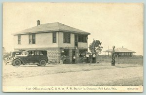 Pell Lake Wisconsin~Post Office Gas Station~Globe Pump~Railroad Depot~CR Childs