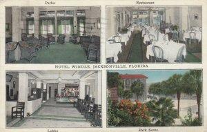 JACKSONVILLE, Florida,1926; Hotel Windle, Parlor, Restaurant, Lobby & Park Scene