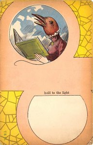 Transparencies Hold to Light Post Card Bird Reading Unused