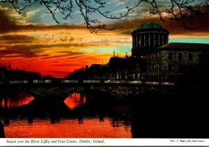 Ireland Dublin River Liffey and Four Courts At Sunset