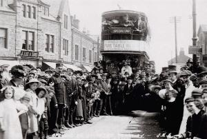 Postcard 1909 Opening of New Tramway Otley Road, Guiseley, Yorkshire, Repro W99