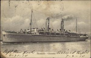 Steamship Oceania Poli Centro Partenze Cancel 1910 Postcard