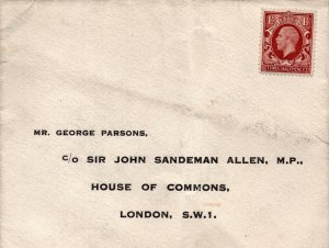 Liverpool Conservative MP Antique House Of Commons Envelope