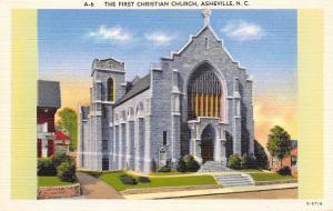 Asheville North Carolina~The First Christian Church~1940 Postcard