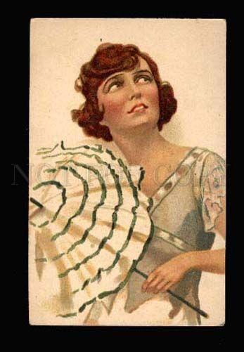 3002127 GLAMOUR Stylish Female Lady w/ UMBRELLA vintage Russian
