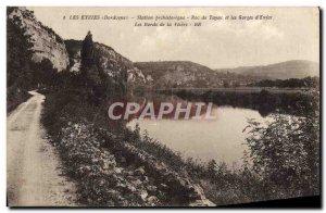 Old Postcard Les Eyzies prehostorique Station Roc de Tayac and gorges d & # 3...
