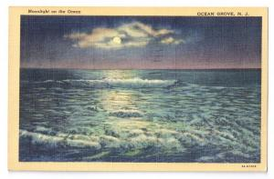 Ocean Grove NJ Moonlight on Ocean WWII message 1942 Linen