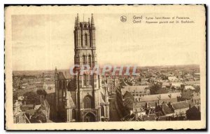 Postcard Old Gent St Bavo Church and panorama