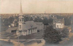 G97/ Grandville Michigan RPPC Postcard 1909 Church Building Homes 3