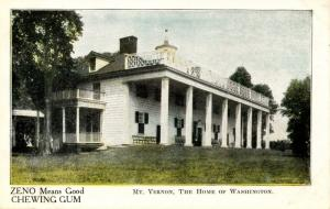VA - Mount Vernon. Home of George Washington.  Advertising for Zeno Chewing Gum