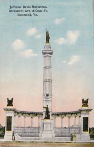 Virginia Richmond Jefferson Davis Monument Monument Avenue & Cedar Street 1914