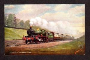 Plymouth Railroad Train Express UK British GWR Postcard Raphael Tuck Oilette