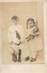 F71/ Interesting Real Photo RPPC Postcard c1910 Well Dressed Kids Doll 19