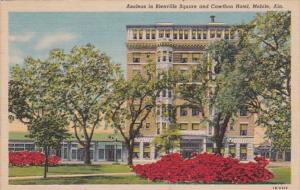 Alabama Mobile Azaleas In Bienville Square and Cawthon Hotel 1958 Curteich