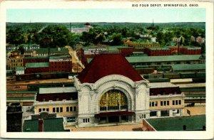 Vtg Postcard Bird's Eye View 1920's Big Four Train Depot Springfield OH Ohio UNP