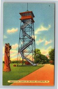 Gettysburg PA-Pennsylvania,Observation Tower Oak Ridge Gettysburg Linen Postcard