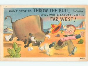 Linen western OLD WEST COWBOY CHASED BY BUFFALO J3808
