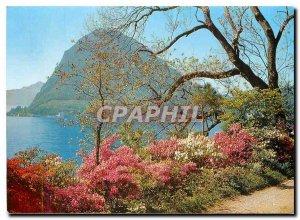 Modern Postcard Lugano con S Salvatore