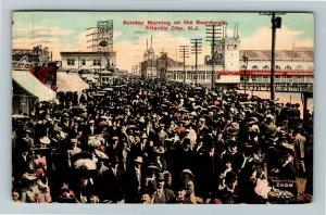 Atlantic City NJ-New Jersey, Sunday Morning On Boardwalk, Vintage c1912 Postcard