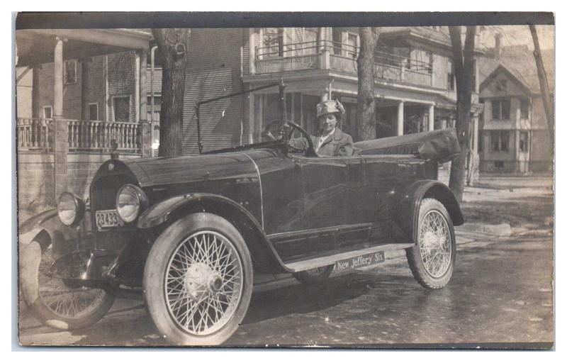 RPPC Jeffrey Six Convertible Auto Female Driver Real Photo Postcard
