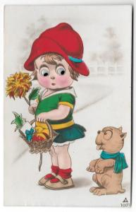 Mechanical Add On Moving Eyes Girl w Basket and Dog Postcard