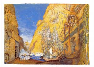 Postcard Art Set Design for Le Dieu Bleu (1911) by Leon Bakst MU2093 #2754
