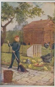Boy Farm Keeper With Giant Broomstick Feeding Hens 1960s Postcard