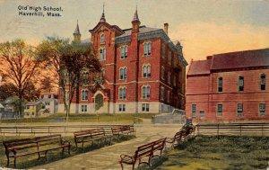 LPS81 Haverhill Massachusetts Old High School Vintage Postcard