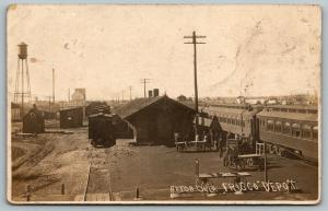 Afton OK~Trains Arrive~Busy Frisco Depot~Railroad Station~Water Tower~1911 RPPC