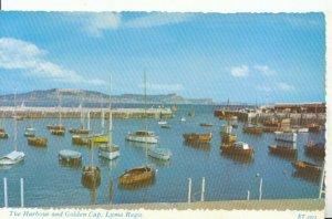 Dorset Postcard - The Harbour and Golden Cap - Lyme Regis - Ref 18705A