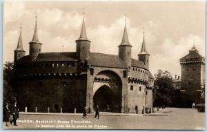 KRAKOW Poland RPPC Real Photo Postcard Barbakan Barbican  Fortress Street View