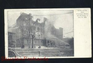 PORTLAND MAINE RUINS OF CITY HALL FIRE DISASTER 1908 ANTIQUE VINTAGE POSTCARD