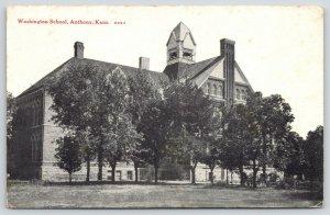 Anthony KS~Trees, Big & Small, @ Washington School~Students? in Belltower c1914