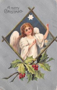 Christmas~Wavy Hair Angel Girl in Wood Diamond~Silver Back~GA Novelty Art~Emboss