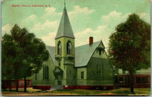 Cobleskill, New York Postcard BAPTIST CHURCH Building / Street View 1908 Cancel