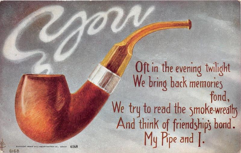 Large Pipe Friendship Greetings~Smoke Curls~Williamson Haffner Co Postcard