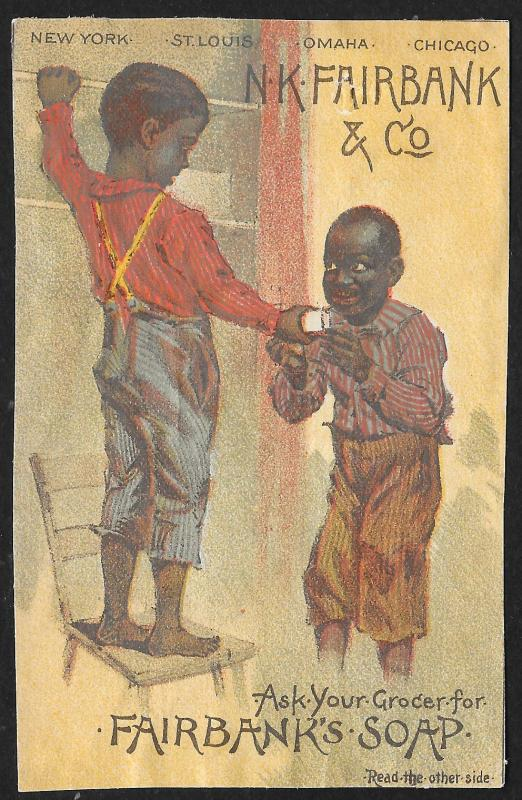 VICTORIAN TRADE CARD Fairbanks Soap Two Black Boys at Wall