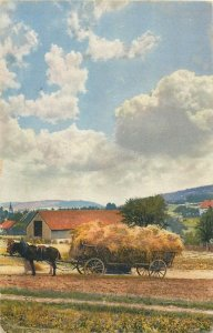 Photochromie early postcard horses cart agriculture scenery
