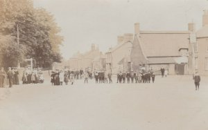 RP: THORNEY , Cambridgeshire , England , 1910 ; People in Town Square