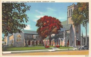 Danbury Connecticut~St James Episcopal Church & Parish House~1940s Postcard