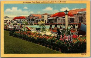 Las Vegas, Nevada Postcard HOTEL LAST FRONTIER Swimming Pool Scene Linen c1940s
