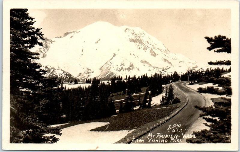 Mount Rainier, Washington RPPC Real Photo Postcard From Yakima Park ELLIS #673