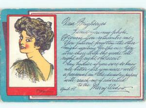 Divided-Back PRETTY WOMAN Risque Interest Postcard AA7996